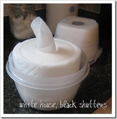 DIY Homemade organic baby wipes, makeup remover wipes, or cleaning wipes with bounty paper towel! -- Use a few drops of tea tree oil + distilled water (or at least boiled water) to prevent mold. For face wipes, add vitamin E... don't make more than 2 rolls at a time to prevent mold.