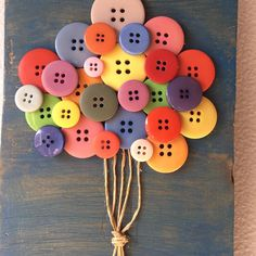 Excited to share this item from my shop: Button Art Balloons On Wood Button Art Projects, Button Crafts For Kids, Fun Arts And Crafts, Cute Crafts, Crafts To Do, Creative Crafts, Craft Projects, Paper Crafts, Crafts With Buttons