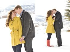 CUTE snow engagement pictures :) oh my gosh the red hunters