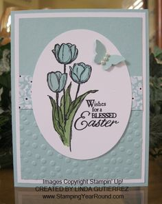 Blessed Easter card in Pool Party color