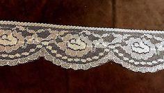 White Scallop Silver Lace Trim 2 3/16 inches    1 yard