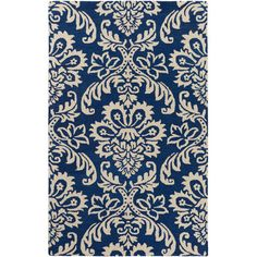 Charlton Home Corine Hand-Tufted Navy/Ivory Area Rug & Reviews | Wayfair