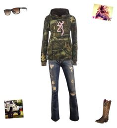 """""""@sarah4026"""" by destinyc1 ❤ liked on Polyvore featuring Ariat, Ray-Ban, women's clothing, women, female, woman, misses and juniors"""