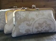 Bridesmaid Clutches- Set of 8 Ivory Tan Neutral Themed Wedding Bags