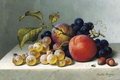 "Emilie Preyer ""Peaches and grapes on a marble ledge"" (19th century) 