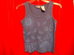 Faded Glory Blue Ribbed Cotton Tank Top Size 12/14 Floral Front #FadedGlory #TankCami #Career