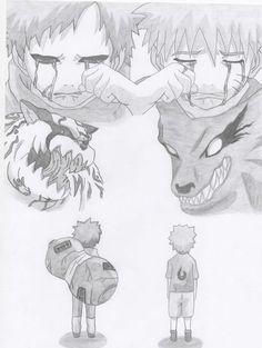 Gaara i Naruto by Antylopa Anime Naruto, Kakashi Naruto, Naruto Fan Art, Naruto Funny, Naruto Sketch Drawing, Naruto Drawings, Anime Sketch, Manga Drawing Tutorials, Anime Drawing Styles