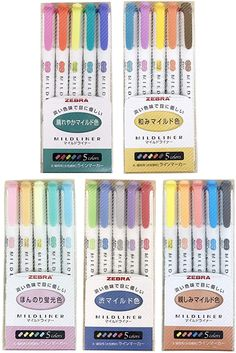 Zebra Mildliner, Pens For Bullet Journaling, Erasable Highlighters, Best Highlighter, Cool School Supplies, Too Cool For School, Pen Sets, Pastel Colors, Writing