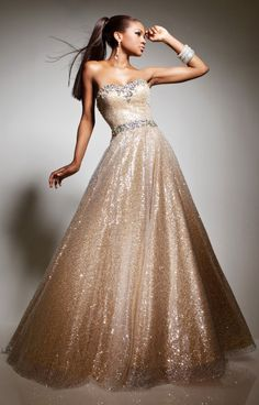 Buy now Tony Bowls Le Gala 113513 sequined strapless gold dress. Love Tony Bowls he is fabulous. Such a nice guy too! Gold Prom Dresses, Gala Dresses, Homecoming Dresses, Dress Prom, Wedding Dresses, Tony Bowls, Elegant Dresses, Pretty Dresses, Formal Dresses
