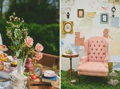 42. Alice in Wonderland: As quirky as it may be, an Alice in Wonderland theme is as cute as they come. Mismatched tea cups, tiny little treats and red rose decorations will bring it all together. (via Ruffled)  100 Beautiful Bridal Shower Themes + Ideas via Brit + Co.