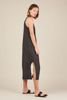 Side Panel Dress - Charcoal - Grei