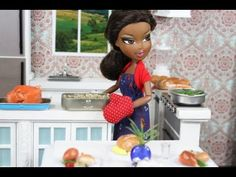How to Make Doll Food : Turkey and Dressing by MyFroggyStuff.  If you watch to the end you will see how she makes the bundt cake and what she uses for the plates, roasting pans and more!