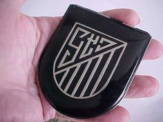 vintage art deco silver black enamel powder rouge compact for purse or vanity