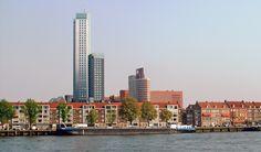 Noordereiland and the Maastoren (Maas Tower), the tallest building in the Netherlands.