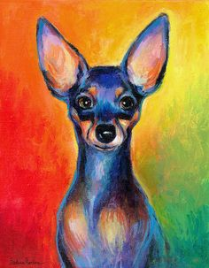 Colorful Dog Art Prints Posters - Contemporary colorful Chihuahua chiuaua painting Poster by Svetlana Novikova Contemporary Wallpaper, Contemporary Bedroom, Contemporary Paintings, Contemporary Building, Contemporary Cottage, Contemporary Apartment, Contemporary Office, Contemporary Architecture, Contemporary Furniture