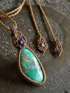 バリサイト&スギライト天然石マクラメ編みペンダント