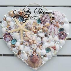 #shellart #saltytreasures #seashell #seashellart #shellheart #coastaldecor Seashell Display, Seashell Art, Starfish, Shell Wreath, Nautical Gifts, Sea Glass Art, Coastal Decor, Homemade Gifts, Sea Shells