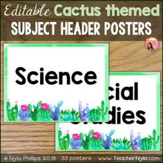 Editable Subject Header Signs - Cactus Theme Subject Labels, Welcome Letters, School Pictures, Cactus Print, Writing Activities, Classroom Decor, Header, Create Yourself, Organization