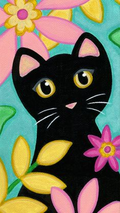 Black CAT & Tropical FLOWERS - Folk Art PRINT from Original Painting by Jill - The Effective Pictures We Offer You About decorations A quality picture can tell you many things. Tropical Flowers, Colorful Flowers, Black Flowers, Exotic Flowers, Yellow Roses, Graffiti Kunst, Art Fantaisiste, Painting For Kids, Painting Art