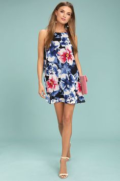 Here and Luau Navy Blue Floral Print Swing Dress 2