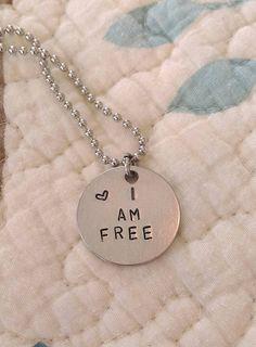 Handstamped I Am Free Necklace by sassyfrassx3 on Etsy