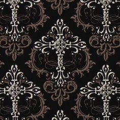 black Michael Miller fabric crosses Crosswise  black fabric with many crosses and embellishments from the USA