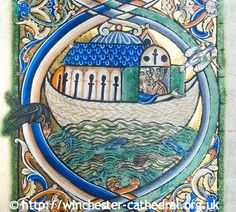 """The Flood: Noah peers anxiously from the Ark. Photo by John Crook."" ...  ""The Winchester Bible is the largest & finest of all surviving 12th-century English bibles. A single scribe wrote out its text in Latin, while artists worked its exquisitely illuminated capital letters. Their glowing colours, including gold and lapis lazuli, are as intense today as 800 years ago."" © The Dean and Chapter of Winchester Cathedral 2013 ...  [Do not remove caption. Req'd by Copyright LAW]"