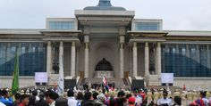 Olympic Day in front of the Mongolian parliament under Chinggis Khaan's watchful eye. #London2012
