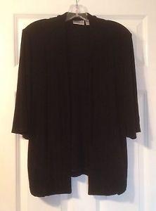 Chico's Travelers Black Open Front Jacket 3 4 Sleeves Chicos 1 Sz Medium 8 10 | eBay