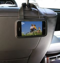 Seat Buddy: turn an iPhone into a portable movie device for kids in the back seat.