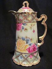 Antique Victorian Hand Painted Chocolate Pot