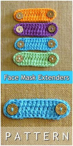 You can make these face mask extender ear savers at home with my super easy step by step crochet pattern tutorial. I can complete one in less than 15 minutes they are that easy. You can also use up all those yarn ends you have laying around. Basic Crochet Stitches, Crochet Basics, Easy Crochet Patterns, Sewing Patterns Free, Tunisian Crochet, Crochet Blocks, Pattern Sewing, Crochet Mask, Crochet Faces