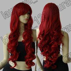 "32"" Long Heat Resistant Big Spiral Curl Dark Red Cosplay Wig Free Shipping 80cm | eBay"