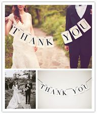 Vintage Wedding Banner Bunting THANK YOU Venue Decoration Party Photo Props