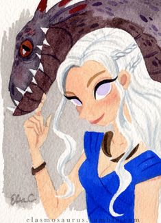 Mother of Dragons by Elsa Chang / elasmosaurus. Game of Thrones! Got Dragons, Mother Of Dragons, Illustrations, Illustration Art, Watercolor Paintings For Beginners, Arte Sketchbook, Game Of Thrones Art, Guache, Fantasy Artwork