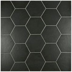 SomerTile 7x8-inch Hextile Matte Black Porcelain Floor and Wall Tile (Case of 14)