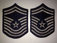 2 Vintage Patches Military US Air Force USAF CMSgt E-9 Women's Chevrons Insignia