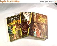 HOLIDAY SALE Vintage Nancy Drew Mystery Novel lot of three books The Mystery of the 99 Steps author Carolyn Keene