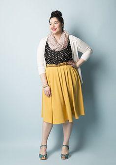 Breathtaking Tiger Lilies Skirt in Mustard | Mod Retro Vintage Skirts | ModCloth.com