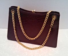 Vintage Faux Alligator Handbag Purse, Brown with Goldtone Double Chain Handle, Adjustable, Mid Century, Circa Late 1950s, Early 1960s by AnchorLineVintage on Etsy