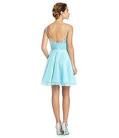 MAC by Mac Duggal Illusion Beaded Bust Party Dress #Dillards
