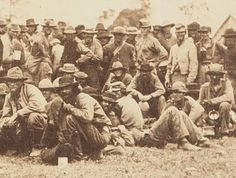 Details from a photograph of Confederate prisoners captured during the Overland Campaign, White House Landing, Virginia, June 1864.