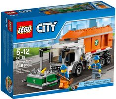 Clean up the city by emptying dumpsters behind the wheel of the LEGO City Garbage Truck, featuring a lift for picking up containers, New Trucks, Lifted Trucks, Hot Wheels, City Clean, Van Lego, Truck Boxes, Trash Containers, Lego City Sets, Lego City