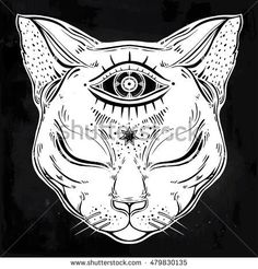 Black cat head portrait with moon and three eyes. Third eye is open. Cat is for Halloween, tattoo, wierd, spirituality, psychedelic art for print, posters, t-shirts and textiles. Vector illustration.