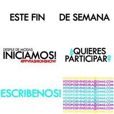 Últimas semanas de INSCRIPCIONES ABIERTAS -Iniciamos este fin de semana- BUSCAMOS CHICOS&CHICAS todas las edades! No importa estatura tipo de cuerpo experiencia tatuajes etc - escríbenos a: fotoposevenezuela@gmail.com y participa en nuestro desfile 2016! #FPVFASHIONSHOW #love #FPV @FOTOPOSEV #instagood #me #smile #follow #cute #photooftheday  #MODEL #girl #beautiful  #picoftheday #instadaily #food #swag #amazing  #fashion #igers #fun #summer #instalike #LIKE #smile #like4like #friends…