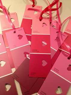 Juneberry Lane: Double Bonus Tutorial: The Cutest Little Paint Chip Heart Garland & Bookmarks . . .