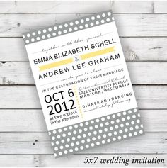 DIY Wedding Invitation Printable in Light Grey, Plantain Yellow, Black, and White #diywedding