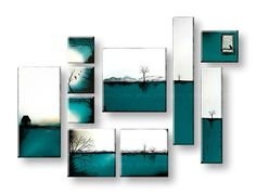 Картини за стена ПЕЙЗАЖ 10- части YOBAM016E10 Shelving, Drawings, House, Painting, Design, Decoration, Home Decor, Art, Ideas