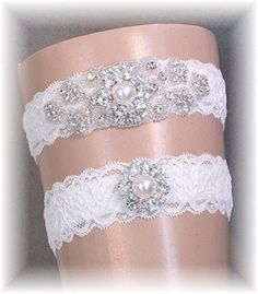 Ivory Lace Wedding Garter Set - Crystal Bridal Garter Set - Rhinestone Bridal Garter Custom Handmade Couture Keepsake and Toss Set
