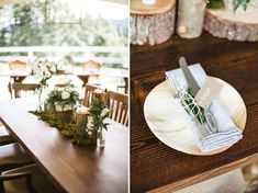 woodsy log centerpieces and moss